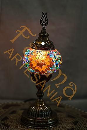 Lámpara turca mosaico de cristal de mesa pequeña (rojo ...
