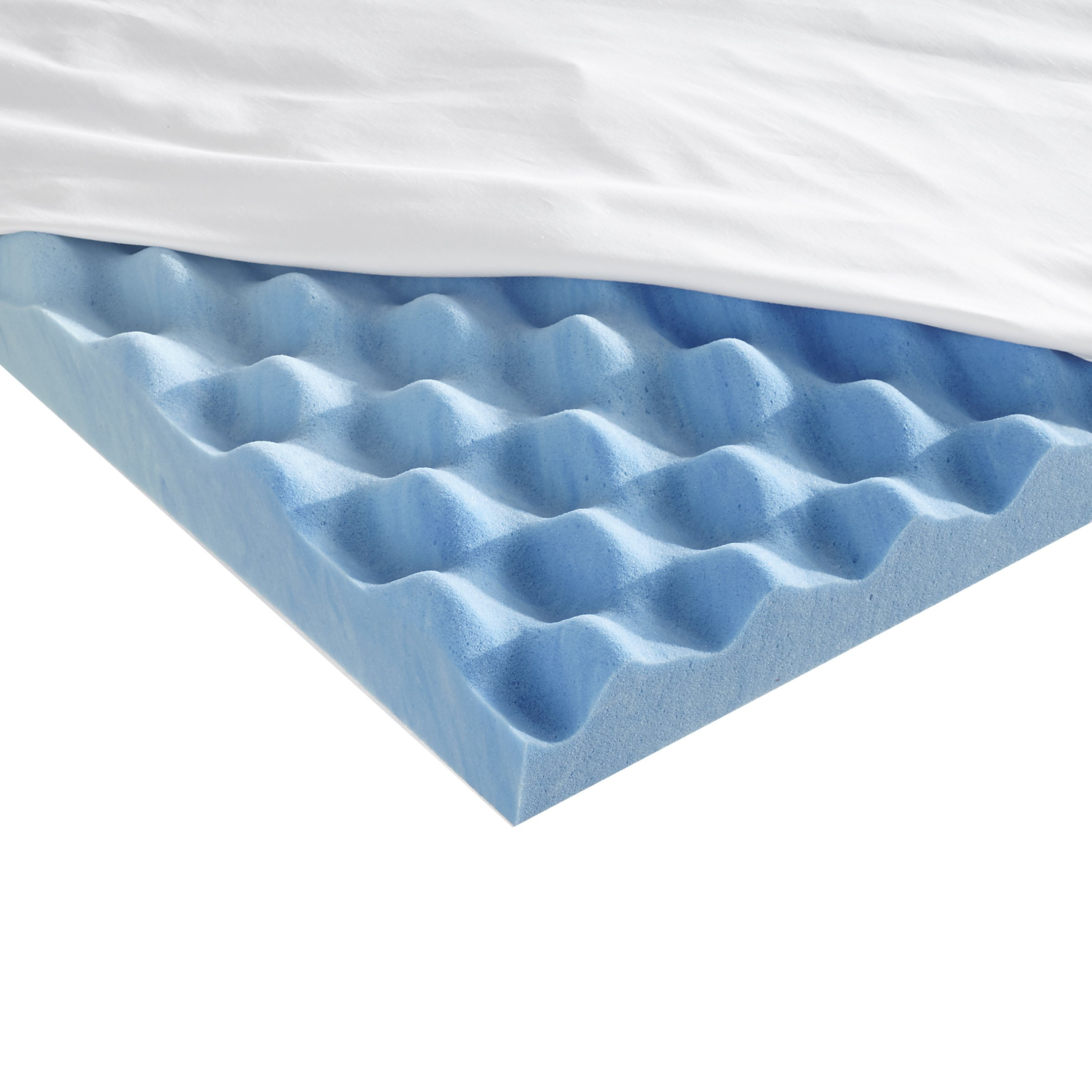 Sleep Innovations 3-inch Gel Memory Foam Mattress Topper with Air Channels and Cotton Cover, Made in the USA with a 10-Year Warranty - Full Size