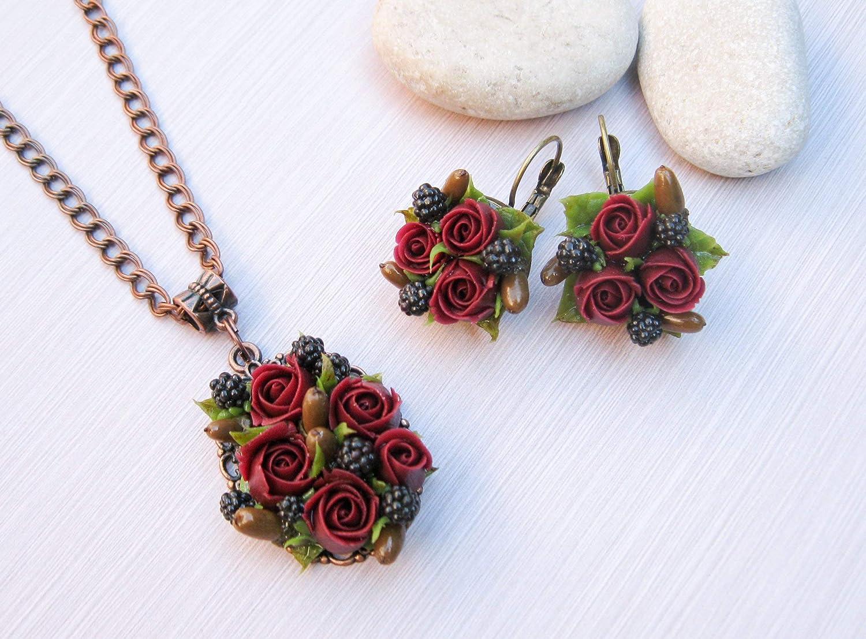Amazon Com Autumn Wedding Jewelry Set Fall Flowers Necklace