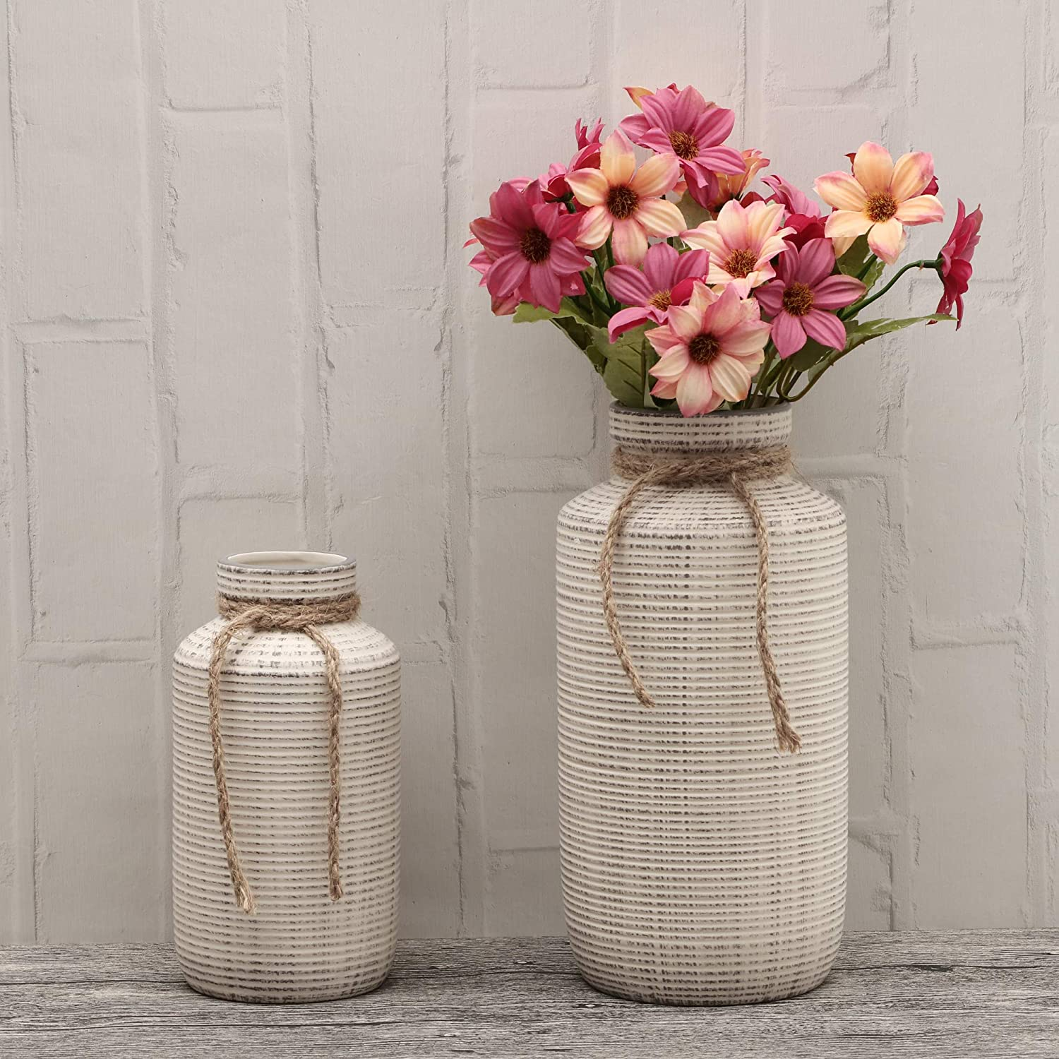 TERESA'S COLLECTIONS Ceramic Flower Vase, Set of 2 White Rustic Decorative Vase Set for Centerpieces,Kitchen,Office,Wedding or Living Room