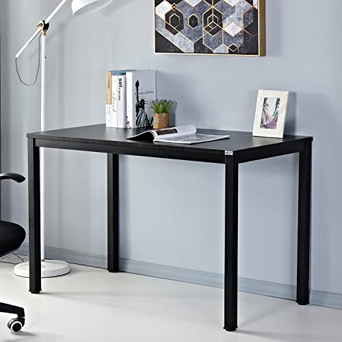 AUXLEY Computer Desk for Home Study, Waterproof and Anti-Scratch Double Deck Wood and Metal Office Table, 47 , Black