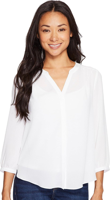 NYDJ Women's Petite Size 3/4 Sleeve Pintuck Blouse: Clothing