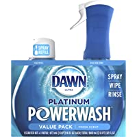 Dawn Platinum powerwash dish spray, dish soap, fresh scent bundle, 1 starter-kit plus 1 refill