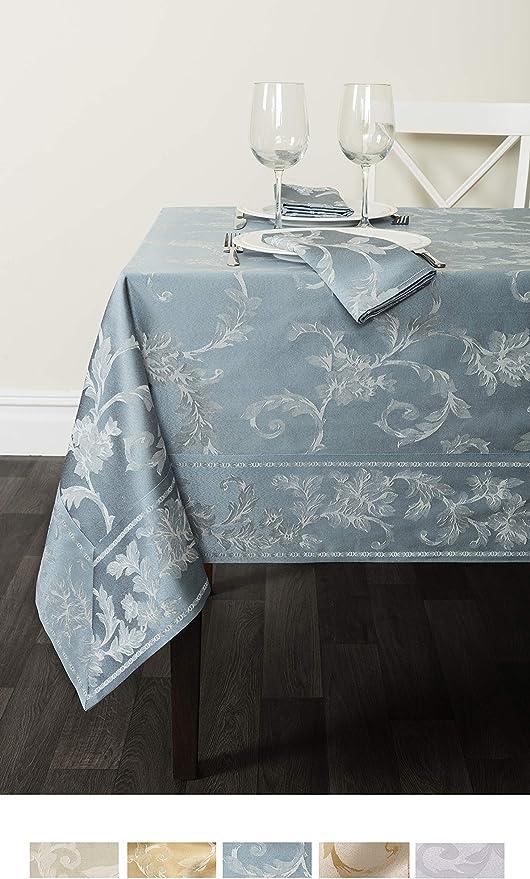"Amazon.com: Benson Mills Harmony Scroll Tablecloth (Silver - Blue, 60"" X 120"" Rectangular): Furniture & Decor"