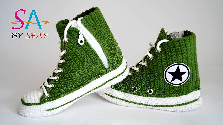 Knitted Green Seasonal Hi-Top Sneaker Slippers For Men And Women Handmade Crochet Style Shoes