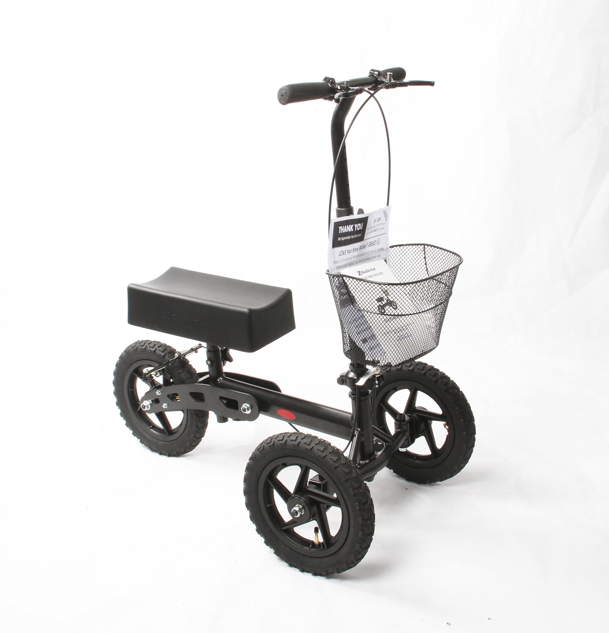 Health Port All-Road Knee Walker | Steerable Medical Scooter for Adults | Foldable & Lightweight |12'' Pneumatic Smooth Wheels & Locking Parking Brakes | Adjustable Knee Pad & Handlebar | Matte Black