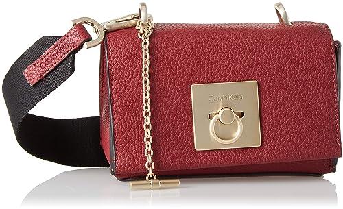 40f8446e9f9 Calvin Klein Jeans Ck Lock Small Flap Crossbody, Women's Cross-Body Bag, Red