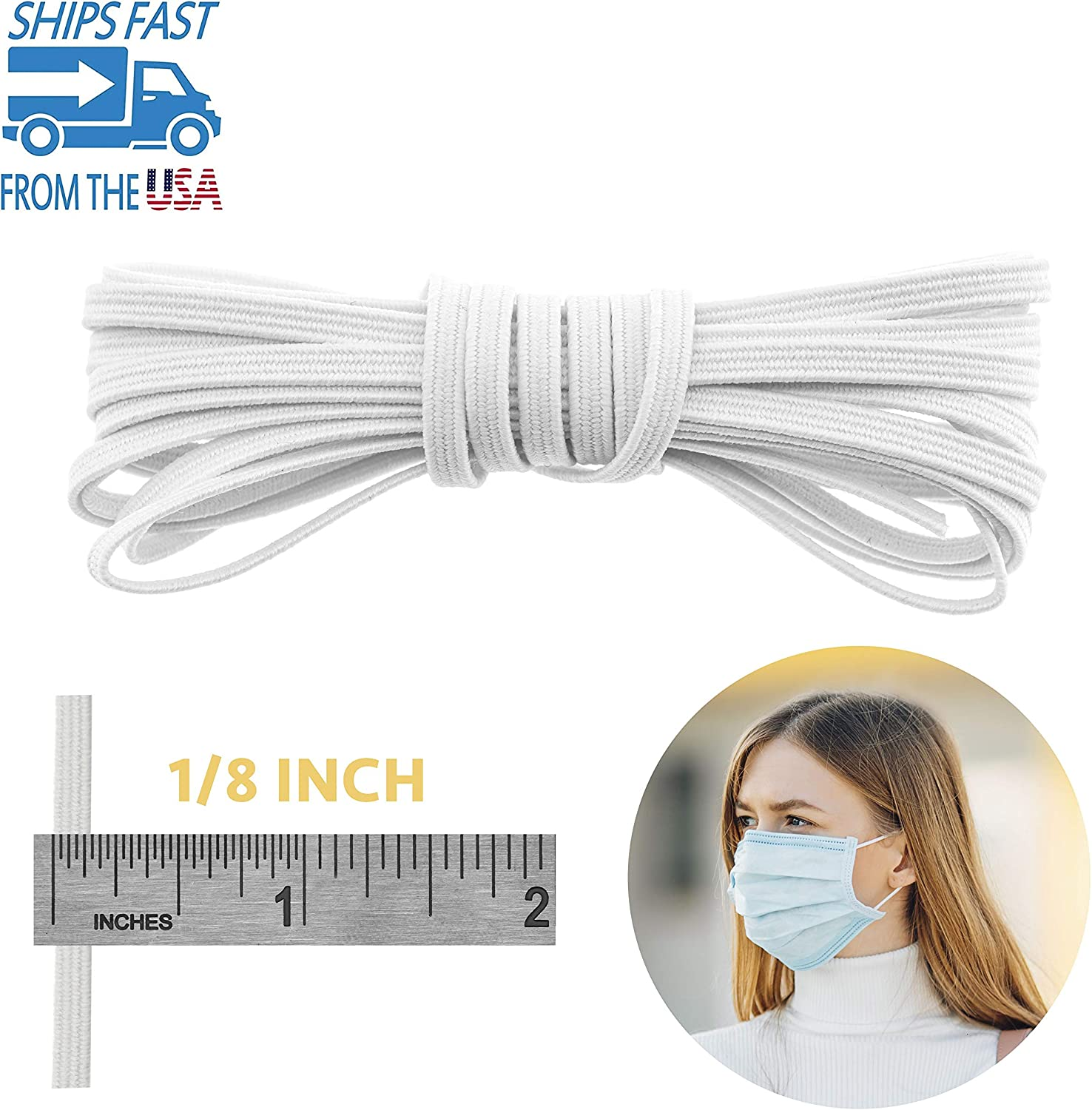 Elastic Bands Craft Flat Cord Rope Braided Stretch Strap 10//20//30 Yards-1//8 /&1//4 Inch Knit String Bungee Spool for Sewing