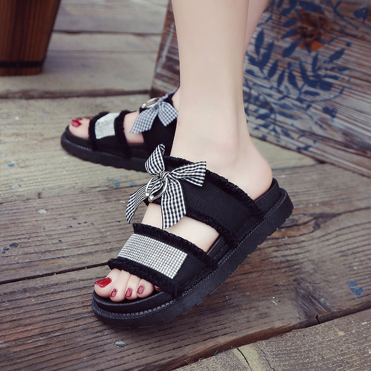 Good-memories Thick-Soled Sandals Summer 2018 Korean Fashion Bow Diamond Casual Rome Chic Fairy Shoes,White,35