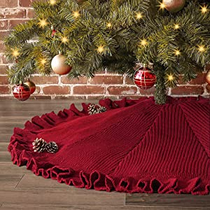 LimBridge Christmas Tree Skirt, 48 inches Ruffled Knit Knitted Thick Rustic Xmas Holiday Decoration, Burgundy