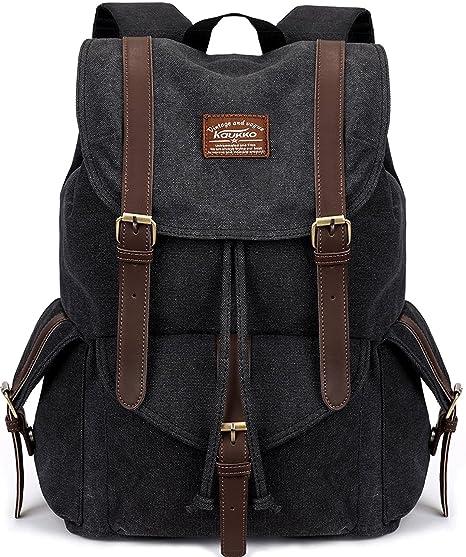 Vintage Canvas Backpack Kaukko Outdoor Travel Hiking Rucksack School  Bookbags Black c6982d5b5ffd1