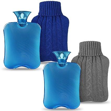 Magicfun Bolsa de Agua Caliente, Botella De Agua De Gran Capacidad 2L Goma Natural Días Frios (Gris+Azul)