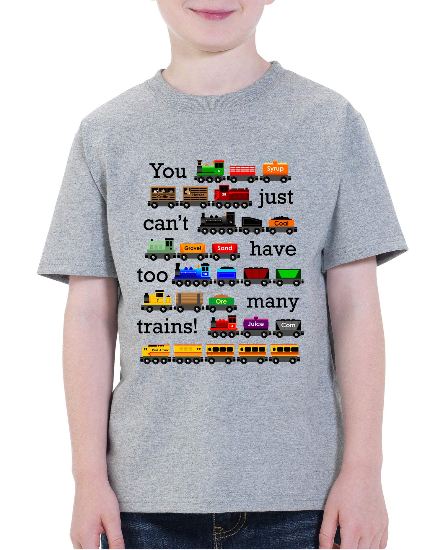 Waldeal Boys Girls Too Many Trains Short Sleeve T Shirt Funny Youth Train Truck Tee 5T 6t by Waldeal
