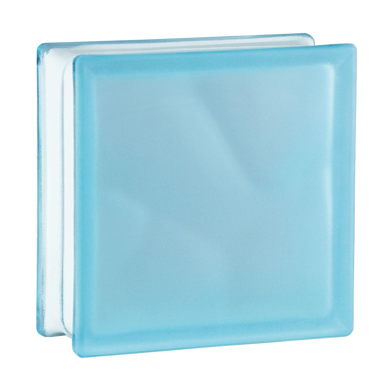 6 St/ück BM Glassteine Wolke Azur 2-seitig satiniert 19x19x8 cm Milchglas