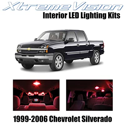 Xtremevision Interior LED for Chevy Silverado 1999-2006 (18 Pieces) Red Interior LED Kit + Installation Tool: Automotive