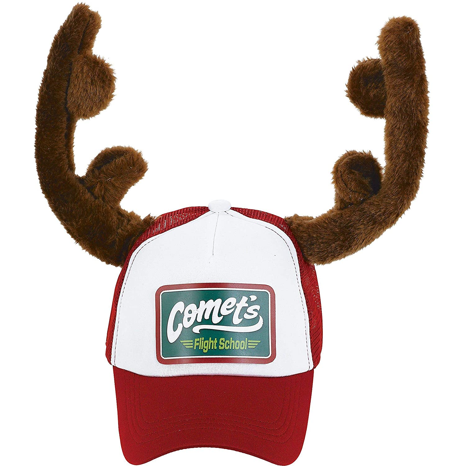 amscan Christmas Trucker Hat with Plush Antlers  Adult  10 x 6
