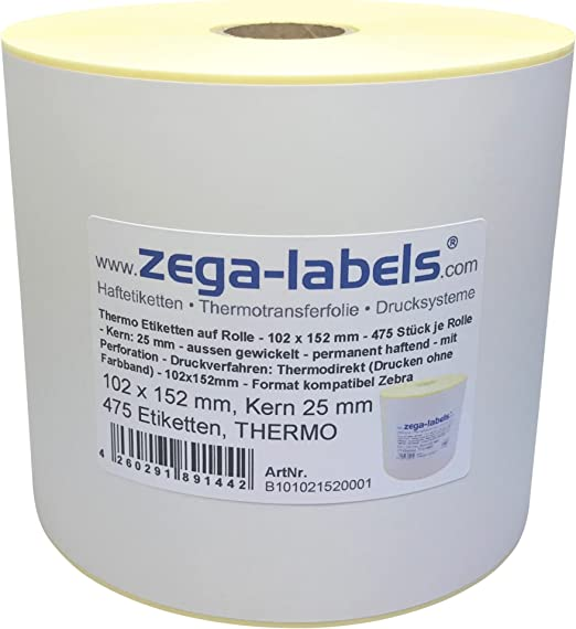 Druckverfahren: Thermotransfer 563 St/ück je Rolle 105 x 148 mm Thermotransfer Etiketten auf Rolle Drucken mit Farbband Kern: 25 mm mit Perforation aussen gewickelt permanent haftend