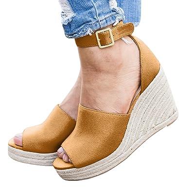 d4d6d330c56 Dellytop Womens Espadrilles Peep Toe Wedges Cute Ankle Strap Platform  Sandals Summer Shoes