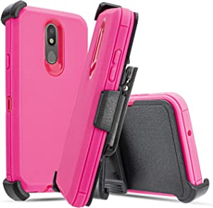 for LG Aristo 4+ Plus/Prime 2/ Escape Plus/LG K30 (2019)/Arena 2/Journey LTE [Four Layered Protection] Heavy Duty Defender Holster Armor Cover + Belt Clip and Built in Screen Protector (Pink)
