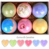 Bath Bombs Gift Set Huge 5Oz Bath Bombs, Natural Vegan and Handmade, 6 Assorted Bath Bombs Including 6 Candles