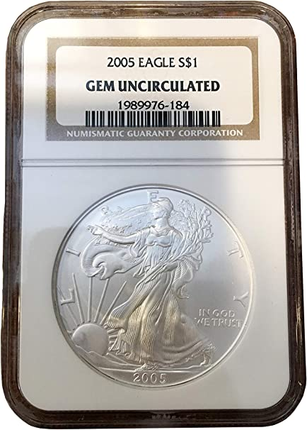 2005 1 OZ .999 Silver Eagle Dollar Coin BU, Walking Liberty, Uncirculated by US Mint NGC - Comes with Coin Capsule Holder Sealed Protection (Ungraded)