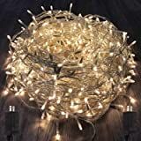 KAQ 2Pack 300LED Extendable String Lights Indoor/Outdoor, Warm White Christmas String Lights with 8 Modes, Waterproof Plug in