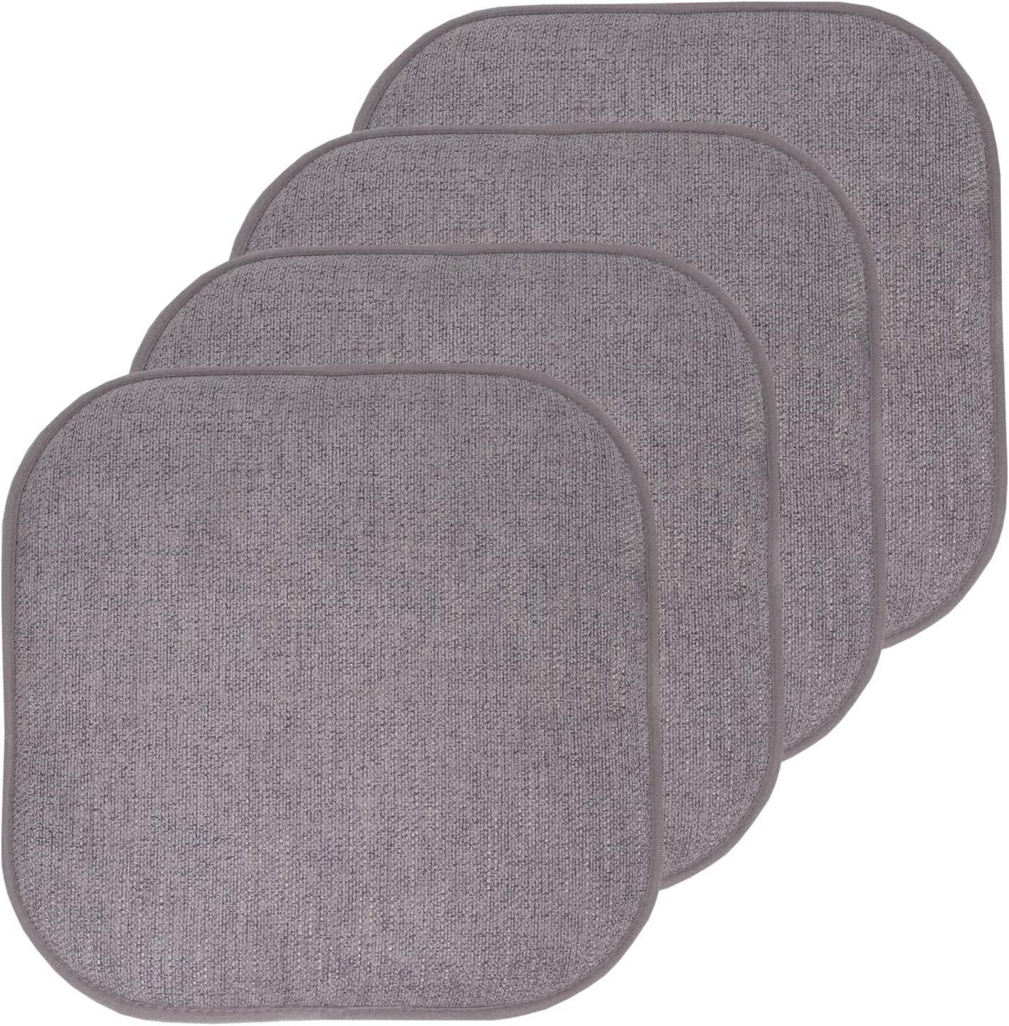 """Sweet Home Collection Chair Cushion Memory Foam Pads Honeycomb Pattern Slip Non Skid Rubber Back Rounded Square 16"""" x 16"""" Seat Cover, 4 Pack, Alexis Gray/Silver"""