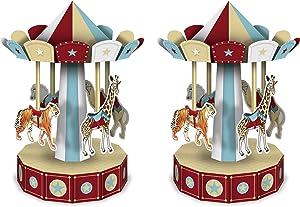 "Beistle 3-D Vintage Circus Carousel Centerpieces 2 Piece, 10"", Multicolored"