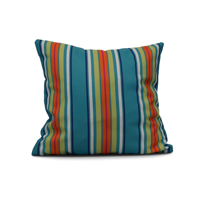 E by design PS766BL40-26 Multi Stripe Print Pillow