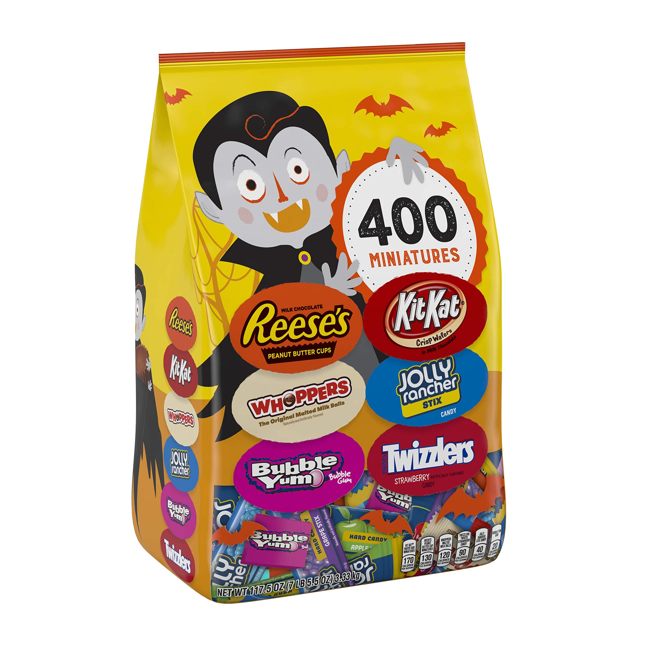HERSHEY'S Bulk Halloween Candy Variety Mix (REESE'S, KIT KAT, WHOPPERS, BUBBLE YUM, JOLLY RANCHER, TWIZZLERS), 400 pieces, 7lb bag