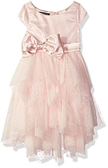 2db5813c93b3 Biscotti Little Girls Pink Charmeuse Bow Cascade Sparkly Christmas Dress 5:  Amazon.co.uk: Clothing