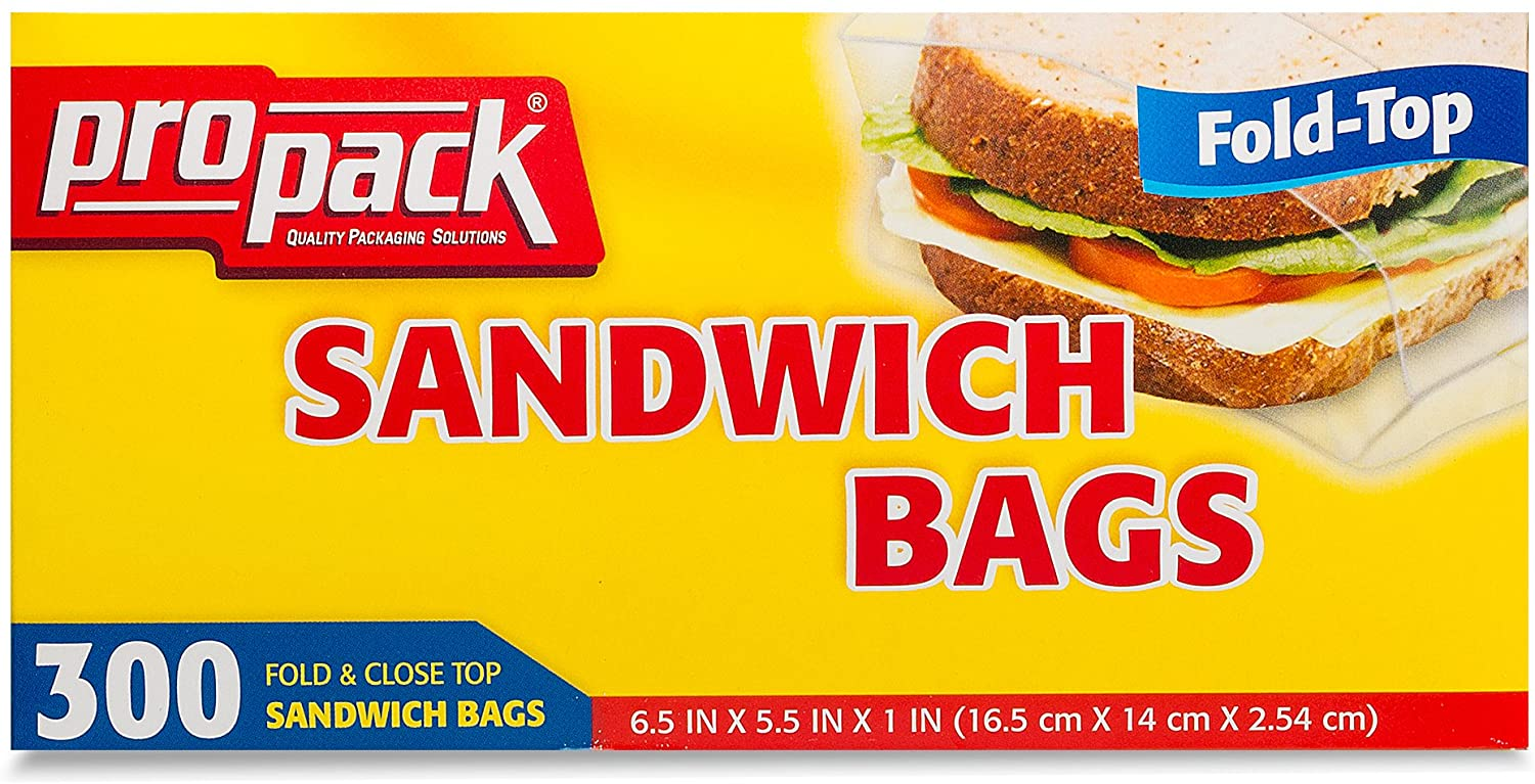 ProPack Disposable Plastic Sandwich Bags with Fold Close Top 300 Bags, Great for Home, Office, Vacation, Traveling, Sandwich, Fruits, Nuts, Cake, Cookies, Or Any Snacks (1 Packs)