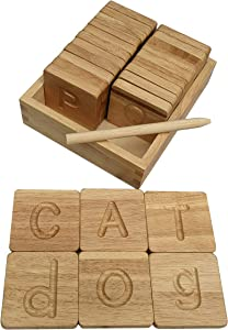 Simplistic Homes Preschool Learning Letter Tracing Alphabet Cards Solid Beech Wood Set of 26 Pieces Double Sided Uppercase and Lowercase ABC Letter Tiles in Wood Case with Wood Stylus Pen