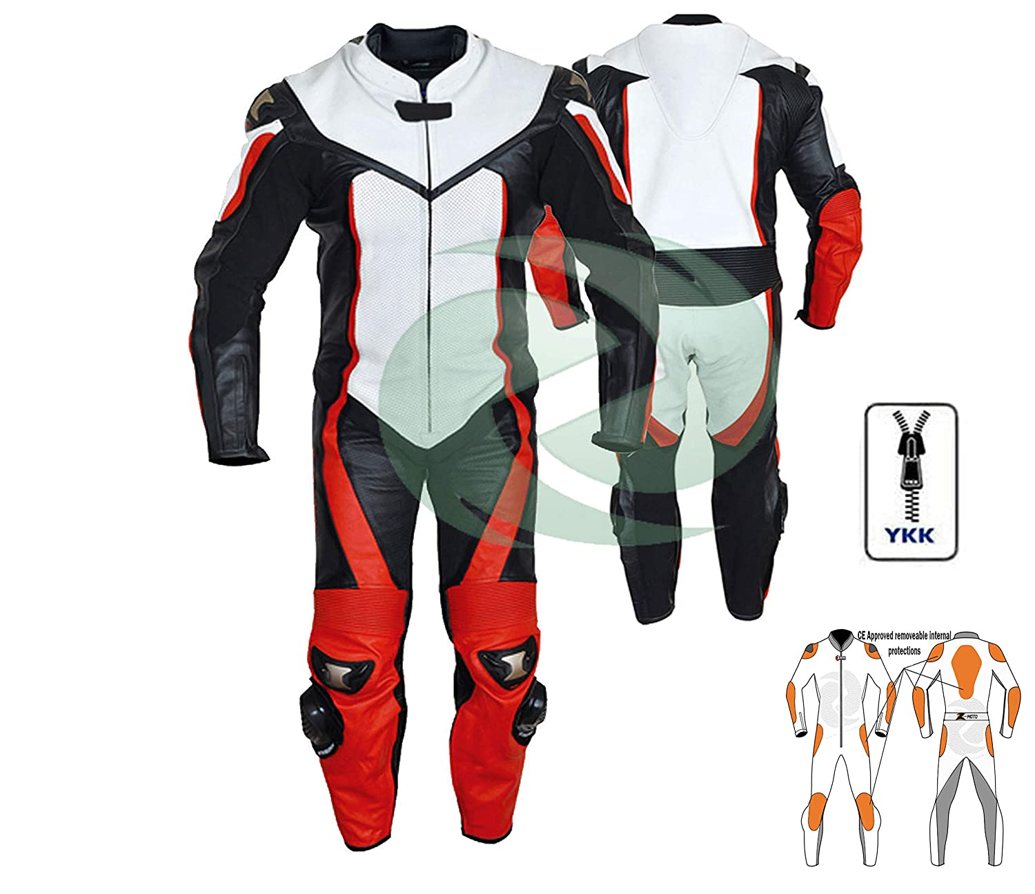 WARRIOR MOTORCYCLE MOTORBIKE WHITE RED BLACK CE ARMOUR COWHIDE LEATHER JACKET