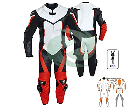 Traje de cuero rojo y blanco para ropa de moto o moto de ...