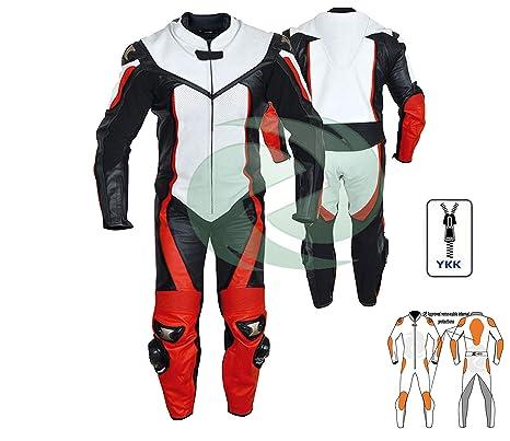8c2c191f3a5 Traje de cuero rojo y blanco para ropa de moto o moto de cualquier tamaño