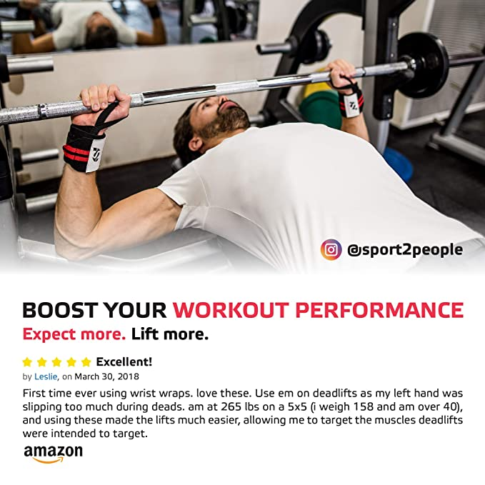 c0f2b2b357 Amazon.com : Sport2People Professional Wrist Wraps Support for Weightlifting  Workout - 18