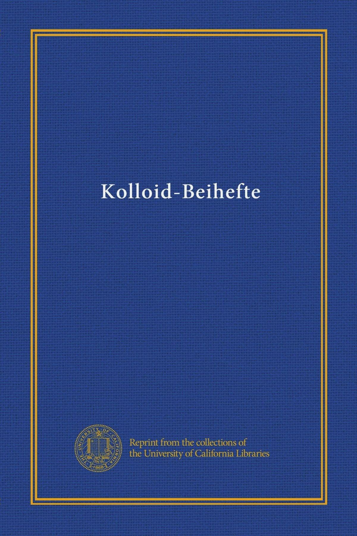 Download Kolloid-Beihefte (v.12 (1920)) (German Edition) pdf