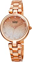 Burgi BUR226 Designer Women's Watch - Stainless Steel Chain Link Band, Glitter Dial, Swarovski Crystal Markers -Fashion...