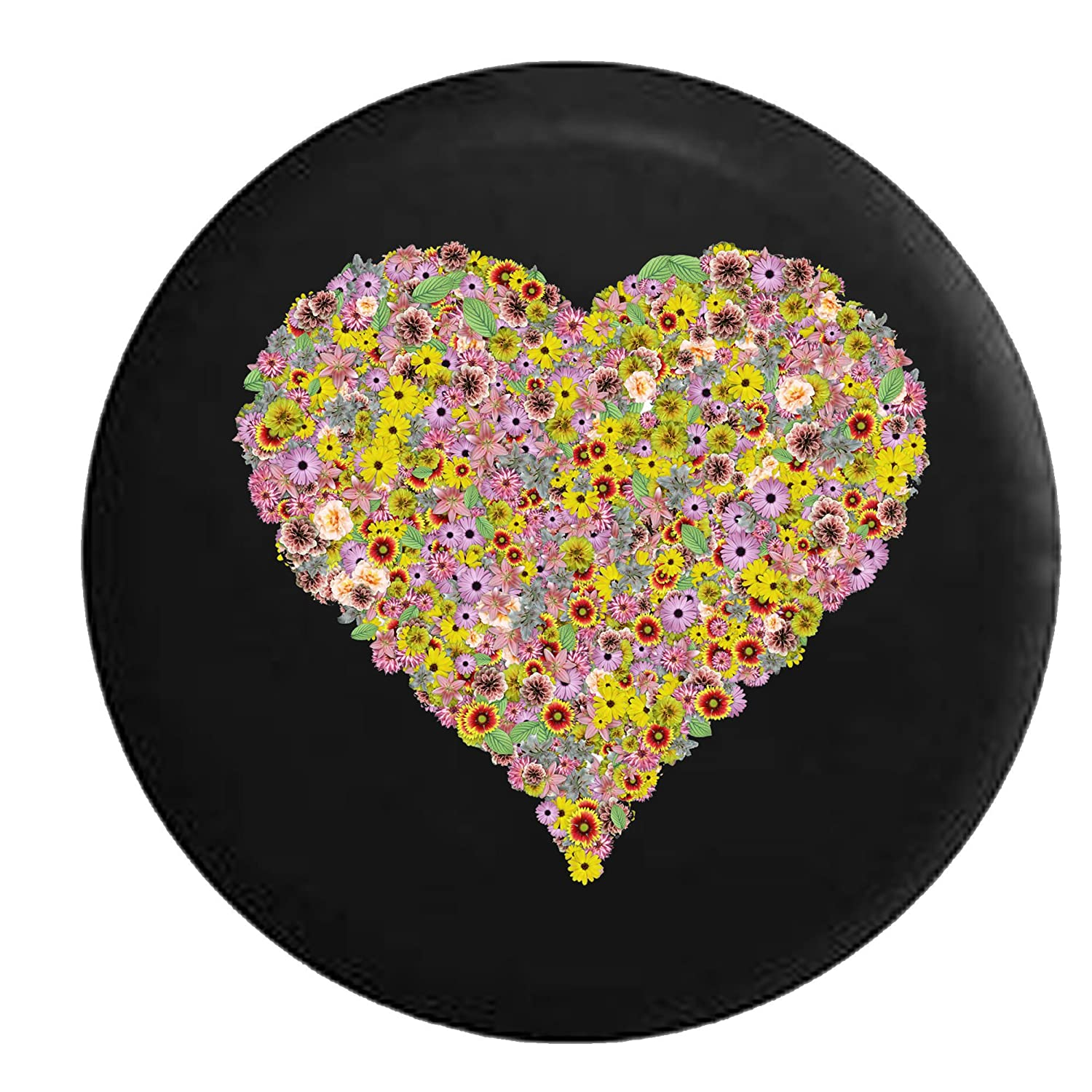 Heart of Flowers Flower Bouquet Spare Jeep Wrangler Camper SUV Tire Cover 30 in Silver Back Covers