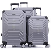 PARAJOHN Helium 3-Piece Hard Trolley Luggage Set Silver