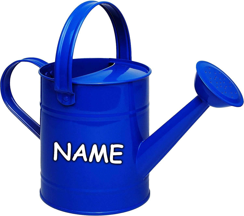 Metall Gie/ßkanne blau Name 1,5 Liter Set: Kleiner Eimer Blech Kindereimer Blecheimer // Metalleimer Sandeimer // Kindereimer Gartenei.. inkl 2 TLG