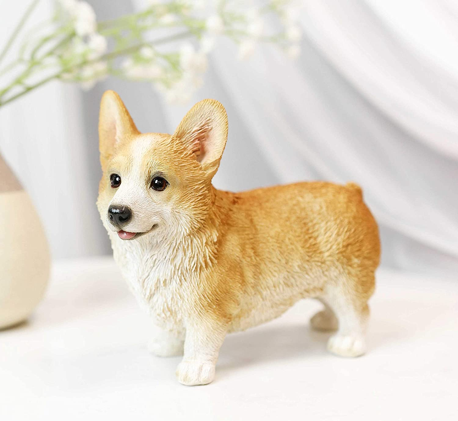 Ebros Lifelike Realistic Standing Pembroke Welsh Corgi Puppy Dog Statue 5.75 Long Fine Pedigree Breed Dogs Gallery Quality Collectible Decor with Glass Eyes Figurine
