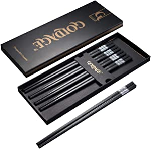 Goldage 5-Pairs Fiberglass Dishwasher-safe Chopsticks - Iridescent Cloud (Silver)