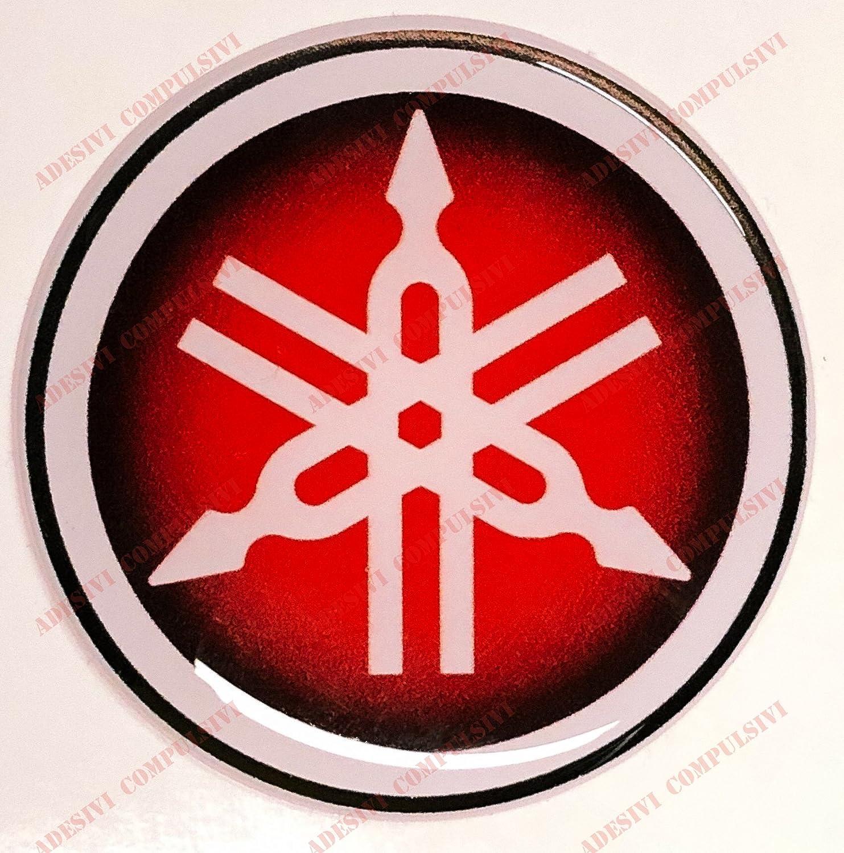 Emblème de décalcomanie Yamaha, adhésif en résine, effet 3d. Couleur: noir et rouge. Idéal pour réservoir ou casque.