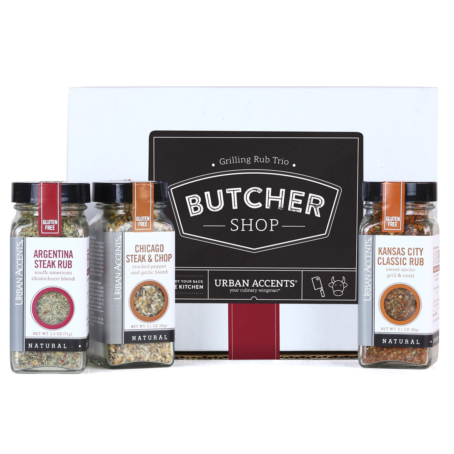 BUTCHER SHOP, A Gourmet Grilling Rub Trio of Spices Gift Set, Perfect for Weddings, Housewarmings or Any Occasion - Urban Accents