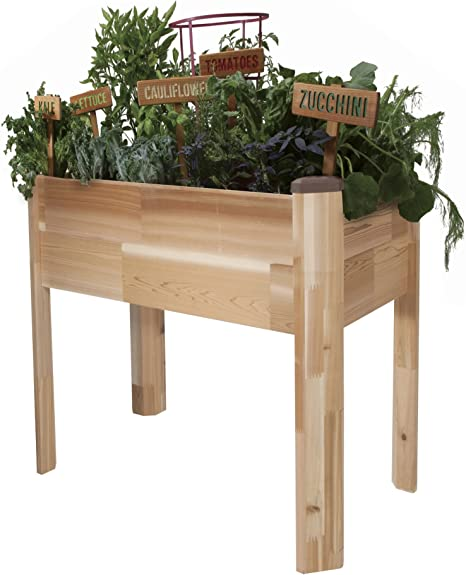 Amazon Com Cedarcraft Elevated Cedar Planter 18 X 34 X 30
