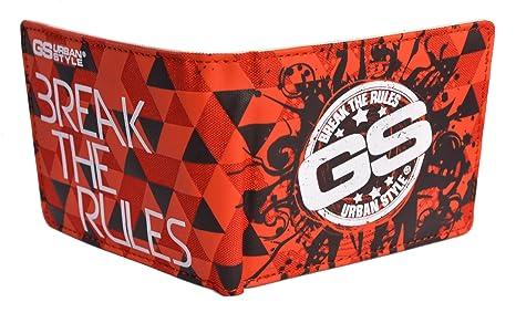 Cartera juvenil de hombre serigrafiada GS break the rules en rojo (11,5x9) (rojo)