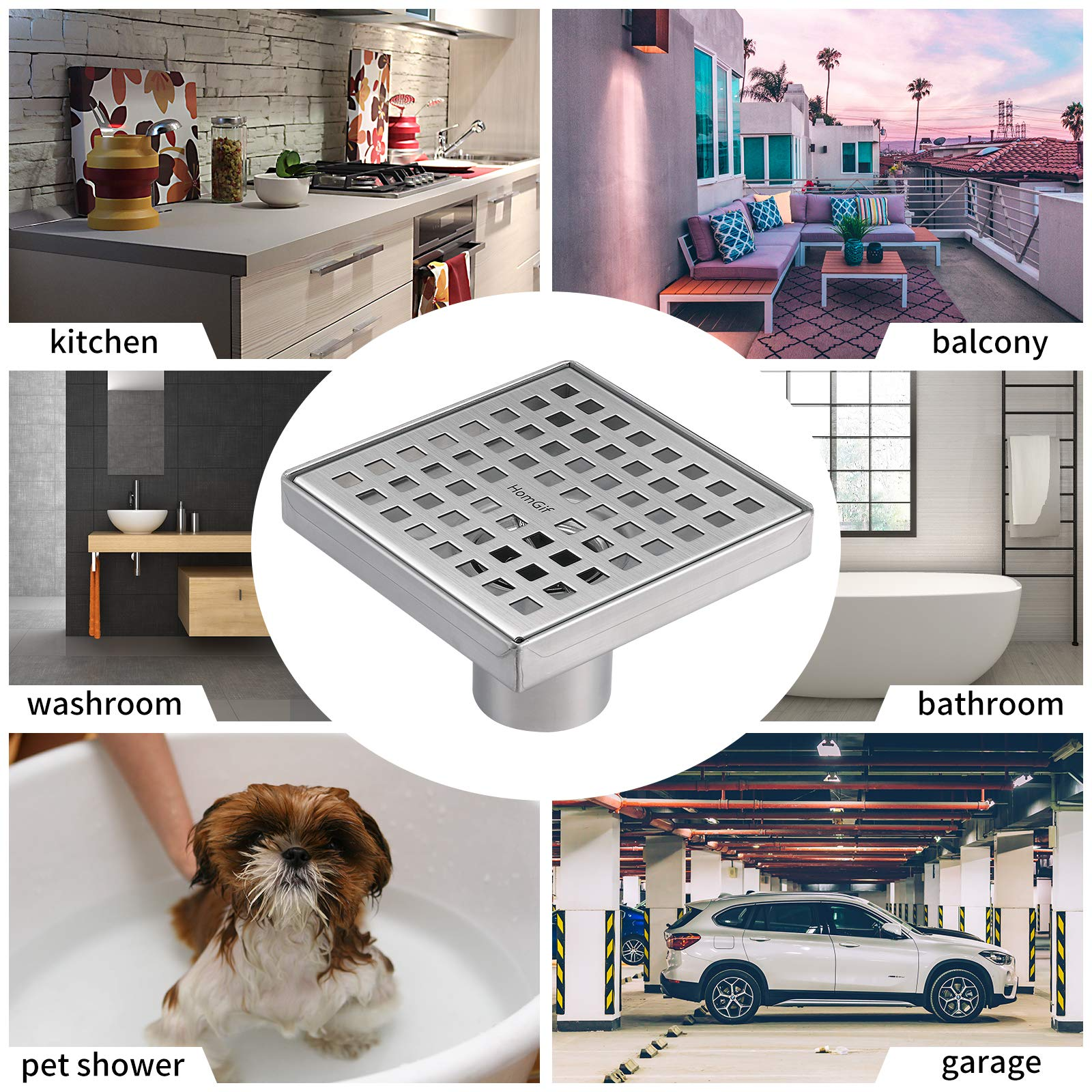 HomGif 5 Inch Square Shower Floor Drain for Bathroom Kitchen SUS 304 Stainless Steel Brushed Finish with Removable Hair Strainer Quadrate Pattern Cover