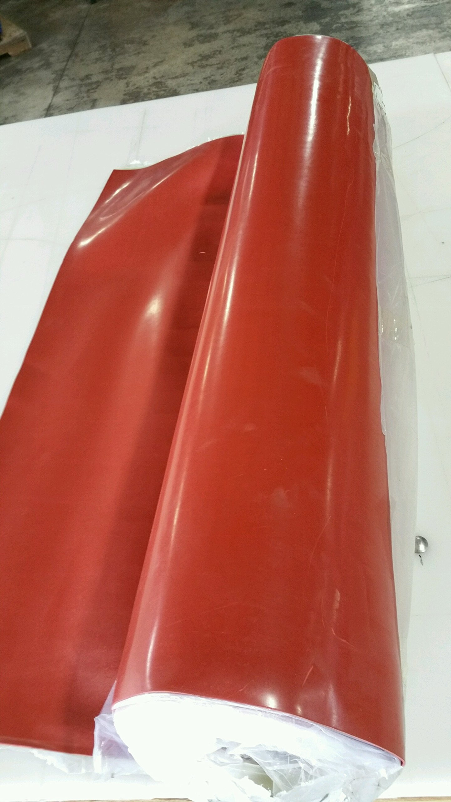 1/16'' x 36'' x 50' Red SBR Rubber Rolls 75 durometer